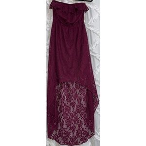 Trixxi Plum Lace High Low Strapless Dress